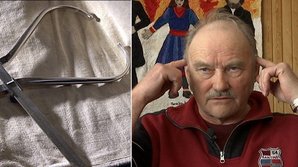 ett gammalt skallmätningsverktyg och en äldre man
