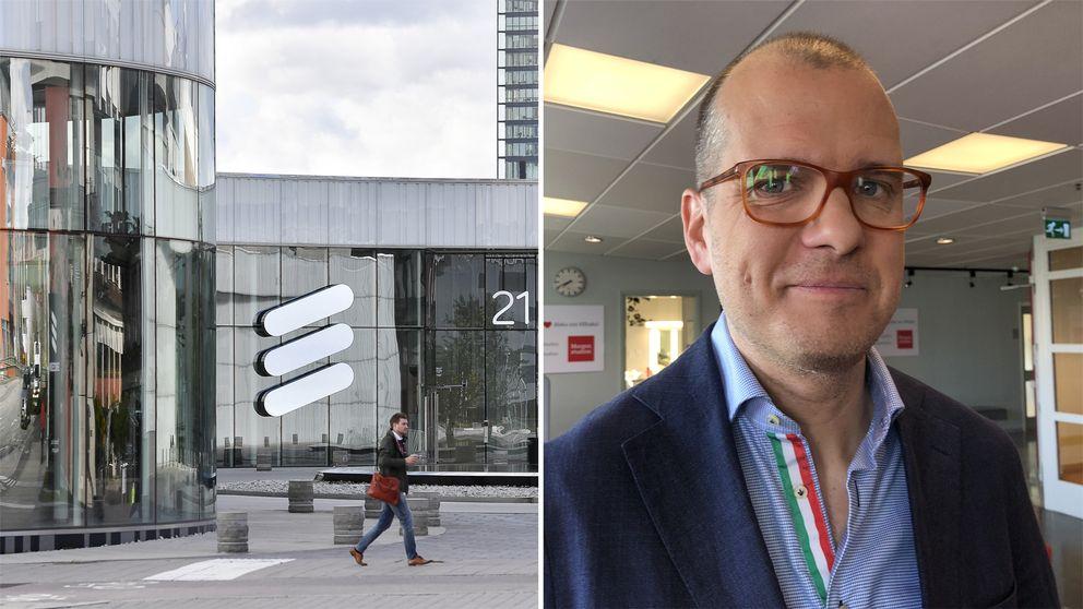 Ericsssons huvudkontor i Kista i Stockholm samt sparkekonomen Joakim Bornold, Nordnet.