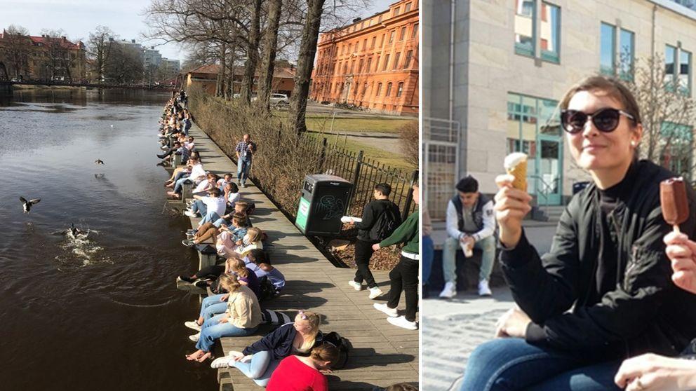 Människor vid Fyrisån. Kvinnor som äter glass.