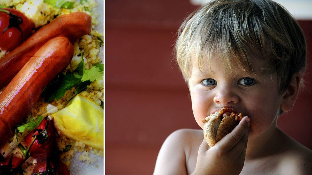 Sojakorvförpackning och treåring som äter varmkorv.