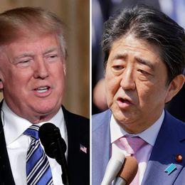 Sydkoreas president Moon Jae-in, USA:s president Donald Trump och Japans premiärminister Shinzo Abe.
