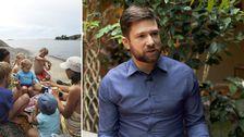 Familj i skärgården och SVT:s meteorolog.