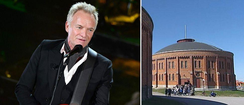 artisten Sting på scen, och en bild på en rund tegelbyggnad – gasklockorna i Gävle