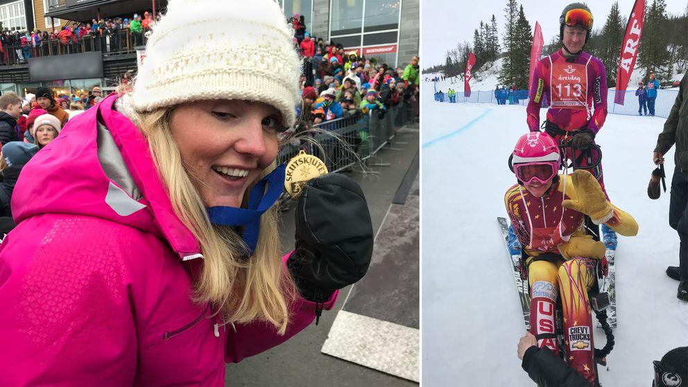 Anna Holmlund på torg med publik, visar guldmedalj, samt bild i tävlingsmundering på henne sittande på skidkälke och brodern