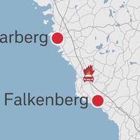 Karta på bildbrand utanför Falkenberg.