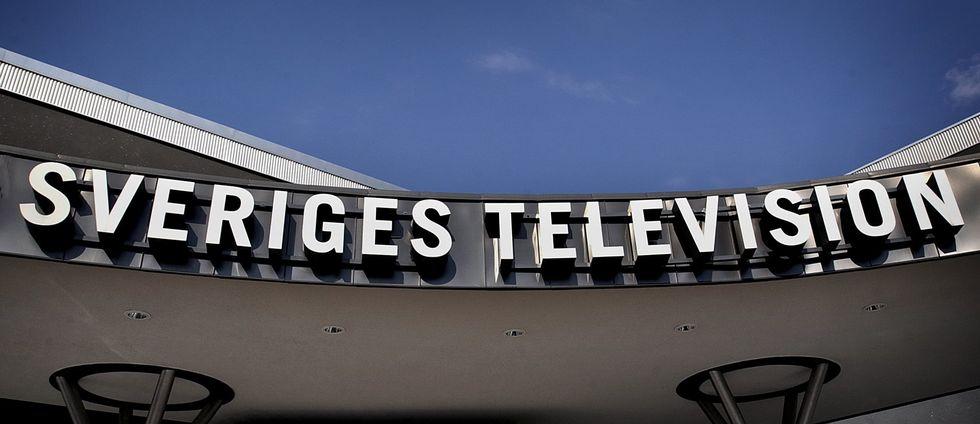 Utanför Sveriges Television, en skylt på SVT.