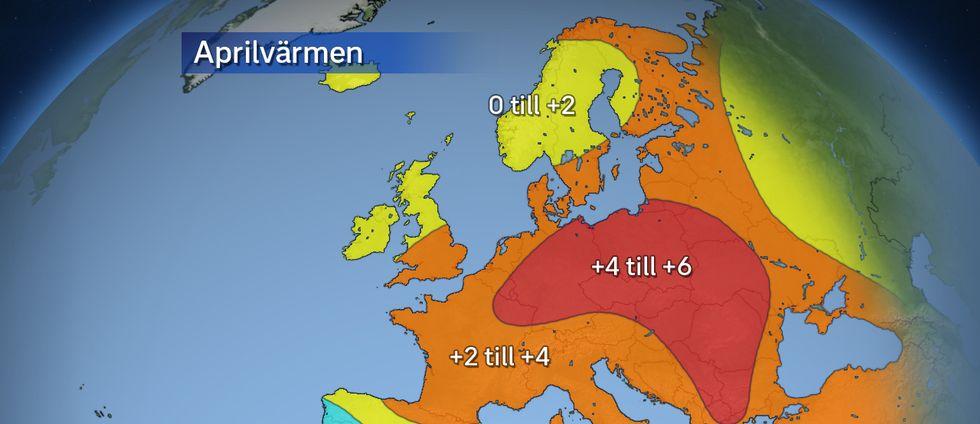 April har varit varmare än vanligt i större delen av Europa.