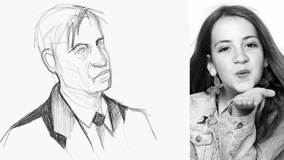 En delad bild med en teckning av pappan och en bild på Ebba Åkerlund