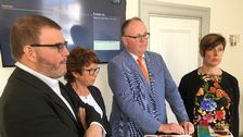 Allianspartiernas gruppledare i regionfullmäktige presenterar sitt valmanifest.