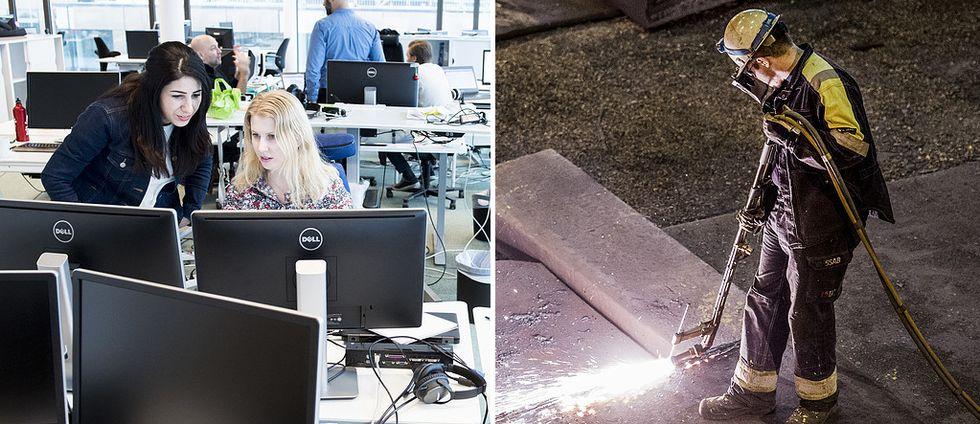 Till vänster: Två kvinnor står vid en dator i ett kontorslandskap. Till höger: En byggarbetare står och arbetar på marken i skyddsdräkt.