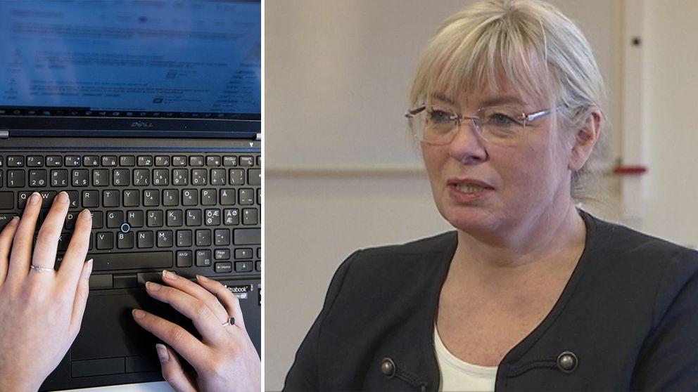 Till vänster: Händer på ett tangentbord. Till höger: Gunilla Karlström.