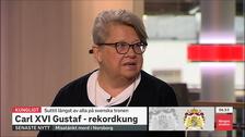 Karin Lenmor i SVT:s Morgonstudion.