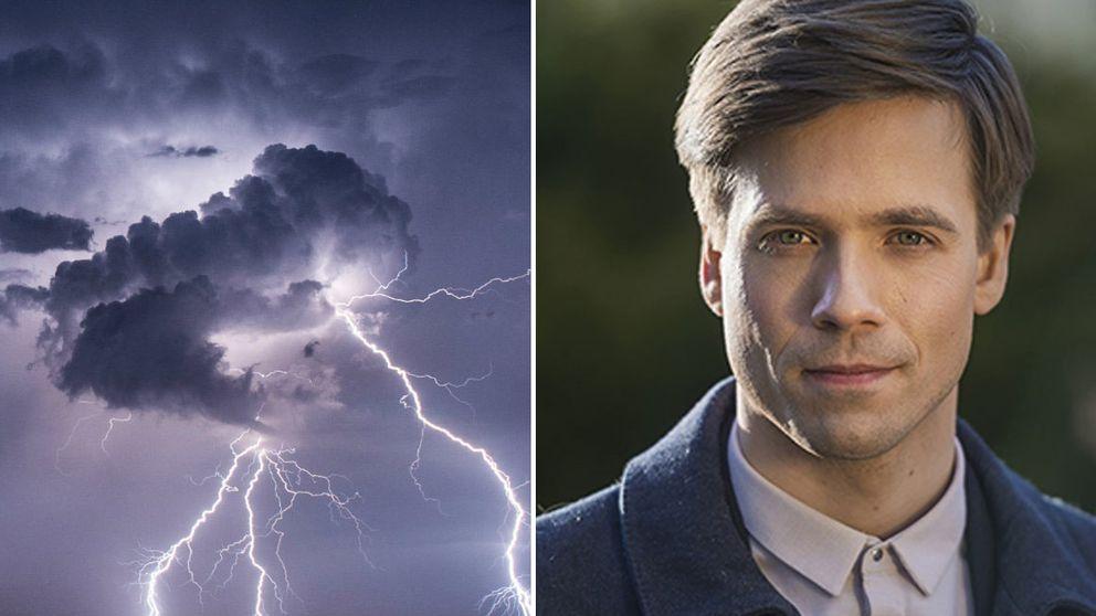 Bild på åskväder och blixt samt SVT:s meteorolog Nils Holmqvist.