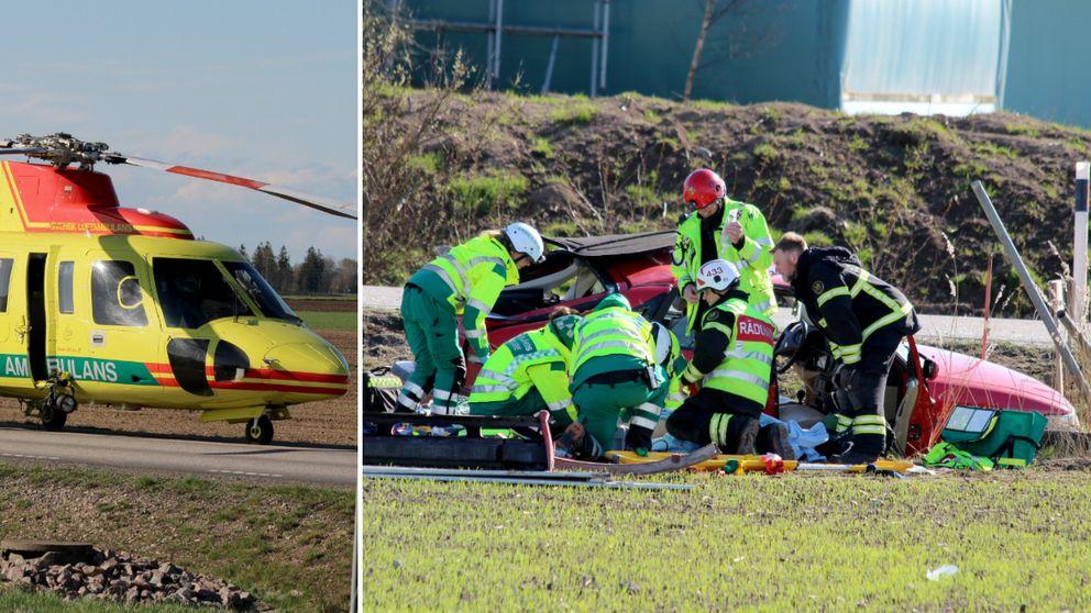 Dubbelbild. Helikopter på landsväg och räddningstjänstpersonal framför bil i diket.