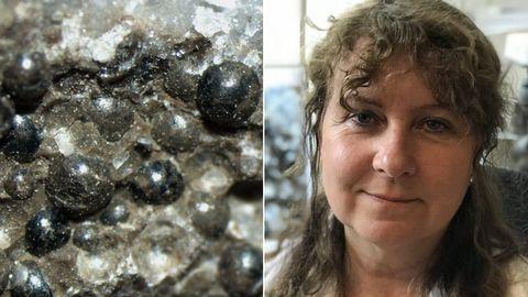 """Bild på """"pärlorna"""" som visar dagen då dinosaurierna dog, samt en bild på Vivi Vajda, professor och paleontolog på Naturhistoriska riksmuseet."""