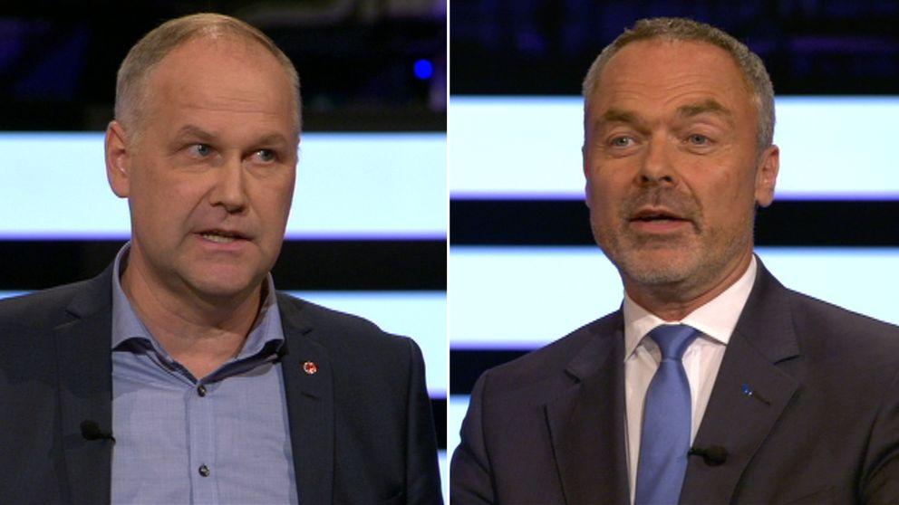 Jonas Sjöstedt (V) och Jan Björklund (L)