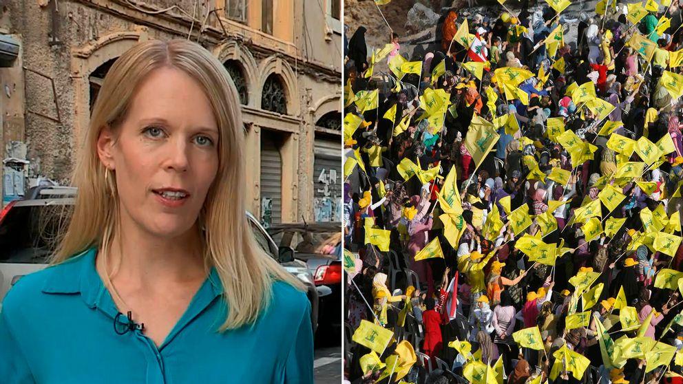 SVT:s korrespondent Stina Blomgren och en bild på en folksamling som bär Hezbollahs flagga.