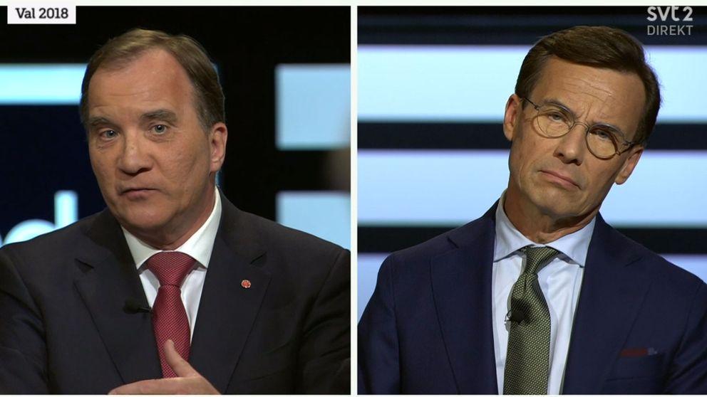 Stefan Löfven och Ulf Kristersson i kvällens första duell.