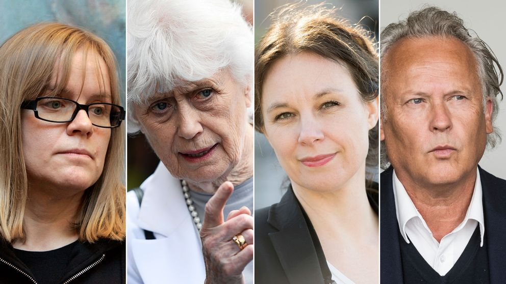 De avgående Akademieledamöterna Lotta Lotass, Kerstin Ekman, Sara Stridsberg och Klas Östergren.