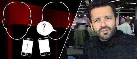 Konturer av ansikten som pratar med mobiltelefoner bredvid.
