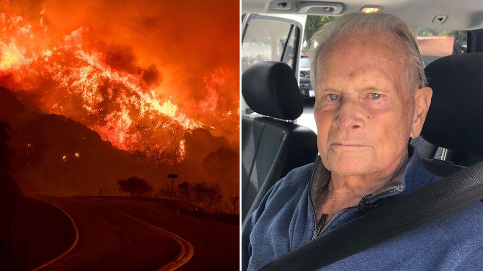 85-årige Bruce Stratton förlorade sitt hem i den våldsamma Thomasbranden i Kalifornien.