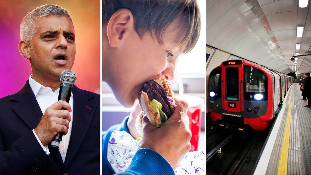 Londons borgmästare Sadiq Khan (till vänster) vill se ett totalförbud mot skräpmat i Londons kollektivtrafik.