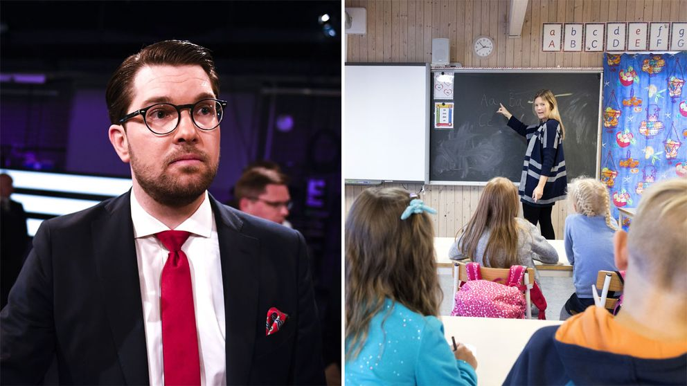SD:s partiledare Jimmie Åkesson och en skolklass.