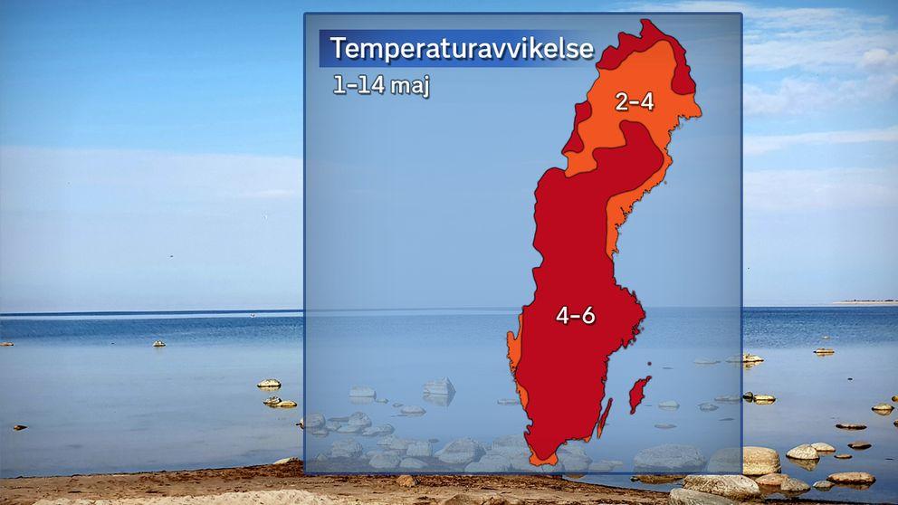 Nu är det sex grader varmare än den normala medeltemperaturen i länet.
