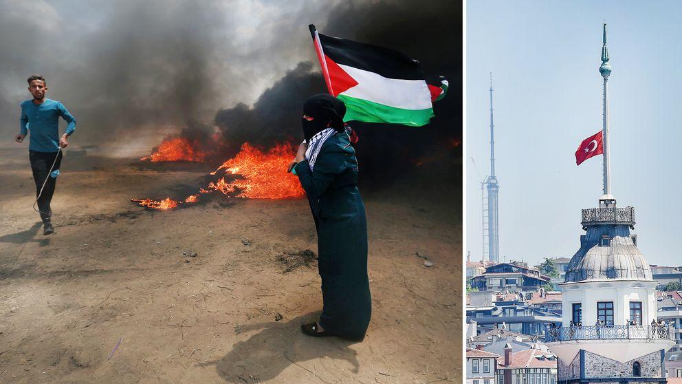 Oroligheterna vid gränsen mellan Gaza och Israel sker i samband med staten Israels 70-årsfirande.