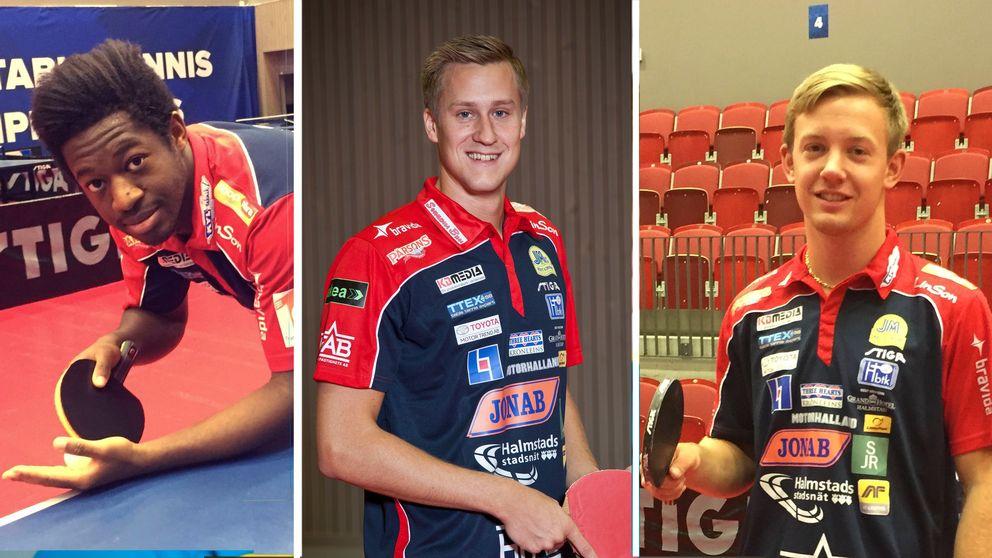 Halmstad BTK. Från vänster: spelarna Ibrahima Diaw, Mattias Karlsson och Elias Ranefur.