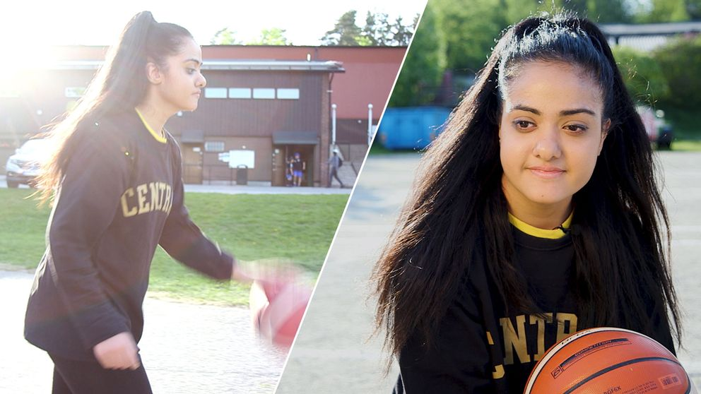 Ung kvinna spelar basket.