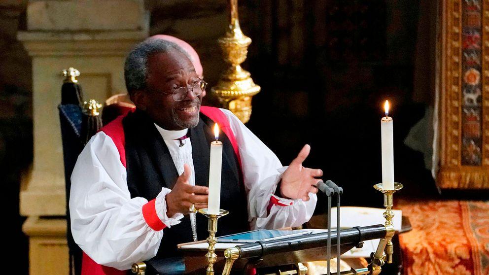 Se biskop Michael Currys hyllade tal vid prinsbröllopet.