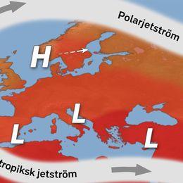 Jetströmmarnas ungefärliga läge den senaste tiden och även i vecka 21