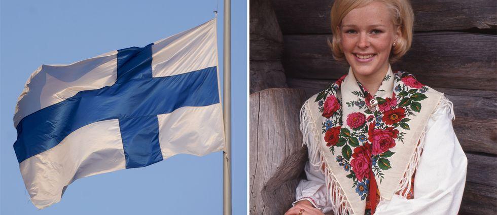 Finlands flagga samt bild på Miss Västerdalarna år 1969.