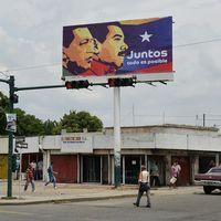 Valreklam i Venezuela föreställande den sittande presidenten Nicolas Maduro och avlidne Hugo Chavez.