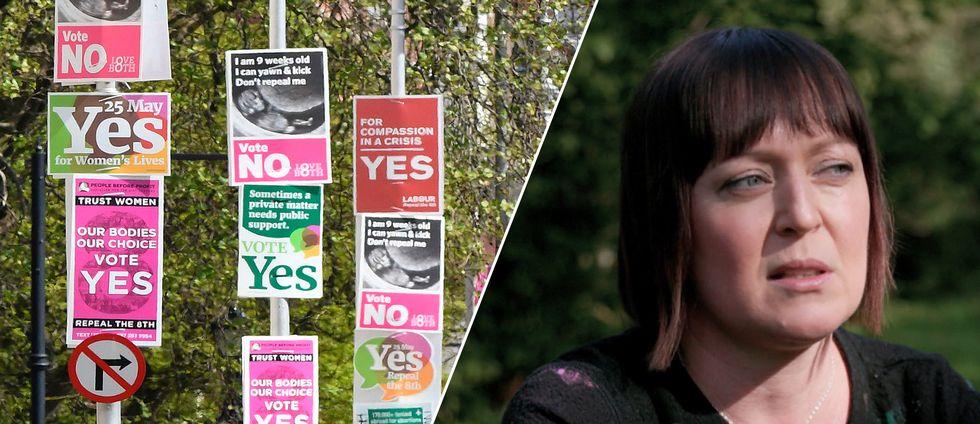 Valaffischer för ja- och nejsidan (vänster), Amy Walsh (höger)