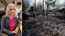 SVT-Meteorologen Åsa Rasmussen och en markbrand