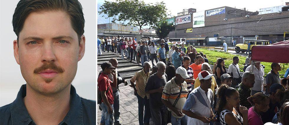 SVT:s reporter Tigran Feiler och röstande venezuelaner.
