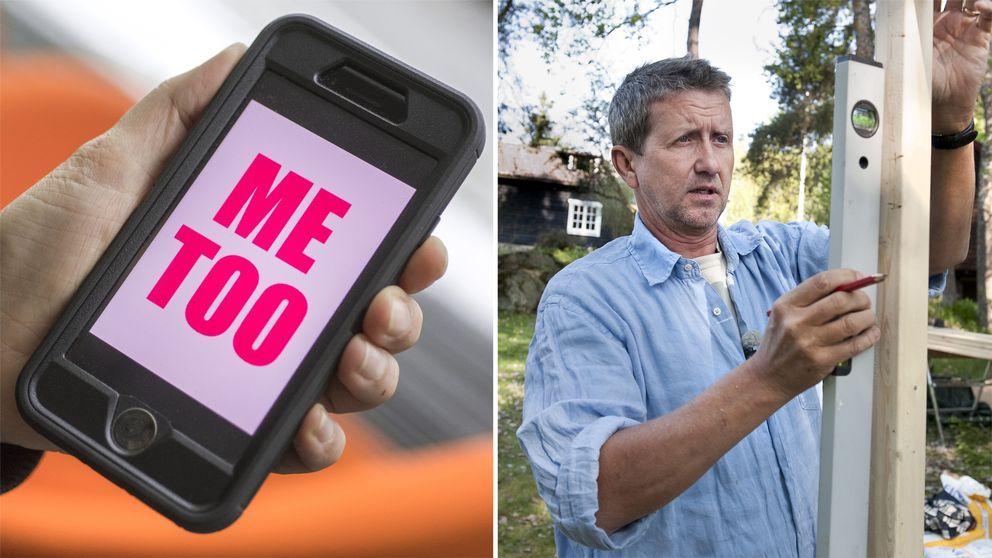Bild på mobil där det står Me Too samt bild på Martin Timell när han snickrar.