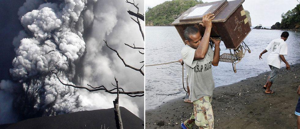 En vulkan som spyr ut rök och en man som bär på ett bord på en strand.