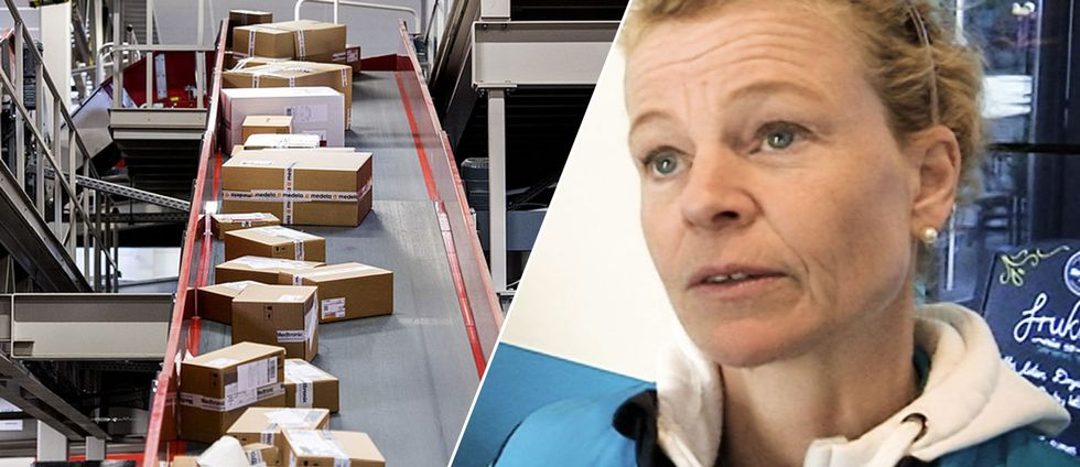 Paket på rullband och Postnords chef i Sverige Annemarie Gardshol.