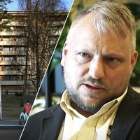 Busskur med bostadshus i bakgrunden. Till höger Hyresgästföreningens senioranalytiker Love Börjeson.