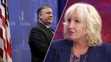USA:s utrikesminister Mike Pompeo och SVT:s utrikeskommentator Erika Bjerström.