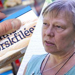 En person håller i ett paket med torskfiléer. Till vänster havs- och fiskeexperten Inger Näslund.