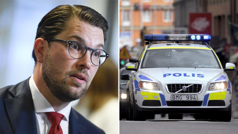 Sverigedemokraternas partiledare Jimmie Åkesson samt bild på en polisbil.