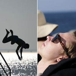 Pojke med solkräm på ryggen, person som dyker ner i vatten, person som solar.