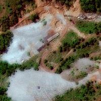 Bild från ovan på kärnkraftsanläggningen Punggye-ri