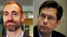 FOI:s Nordkoreaexpert Jerker Hellström, tv, och Sipris kärnvapenexpert Shannon Kile, th.
