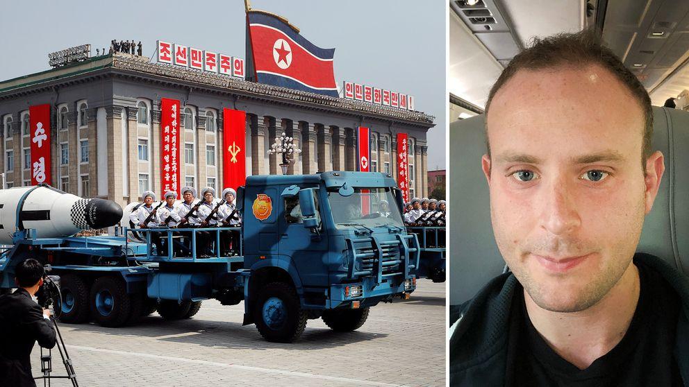 Nordkoreanska lastbilar under en uppvisning av ballistiska missiler vid en militärparad, Nordkorea-experten Benjamin Katzeff Silberstein tror att landet motsatt sig att avveckla sina kärnvapen