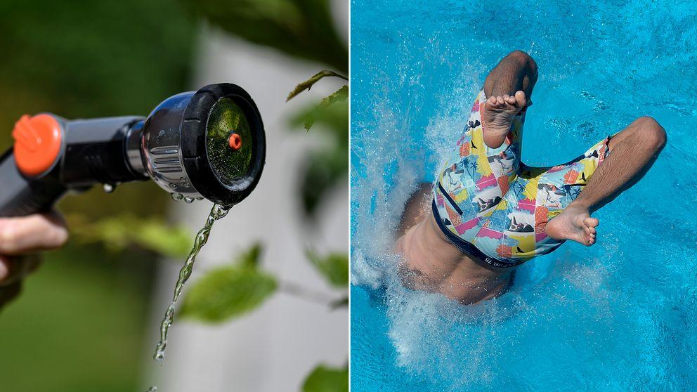 Foto som symboliserar vattenbrist. Droppar från en vattenslang som används vid bevattning. Samt en bild på en pojke som dyker ned i en pool.